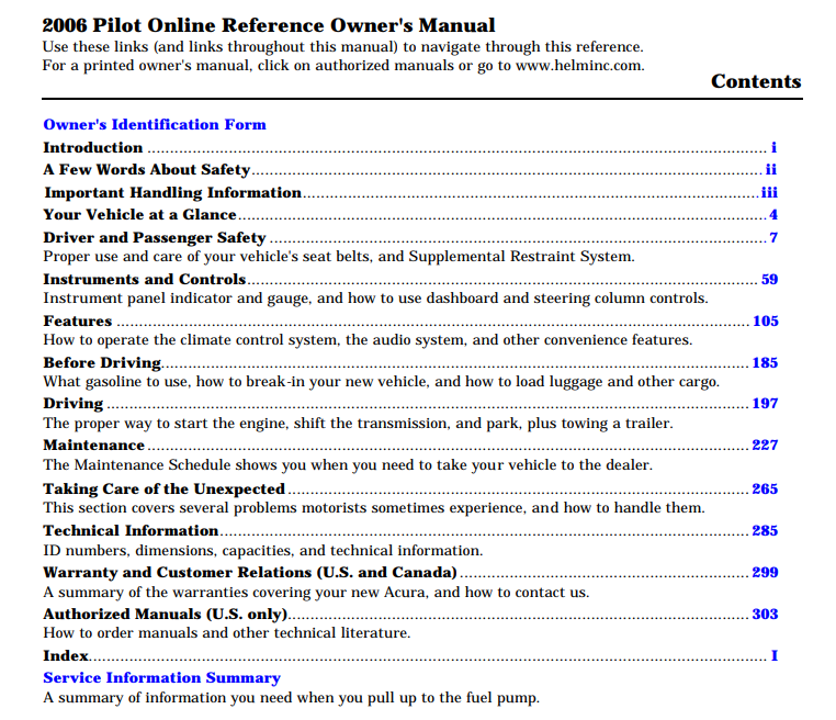 2003 2006 Honda Pilot Service U0026 Repair Manual Manual Guide