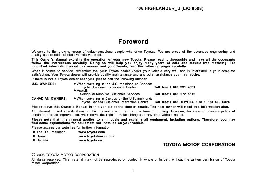 2006 Toyota Highlander Owner's Manual Image