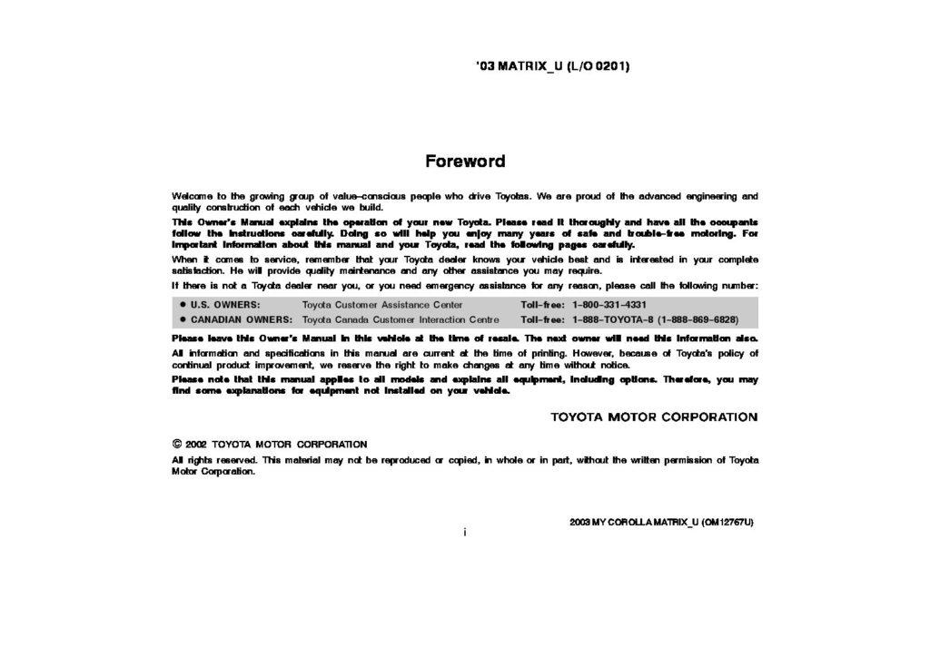 2003 Toyota Matrix Owner's Manual Image