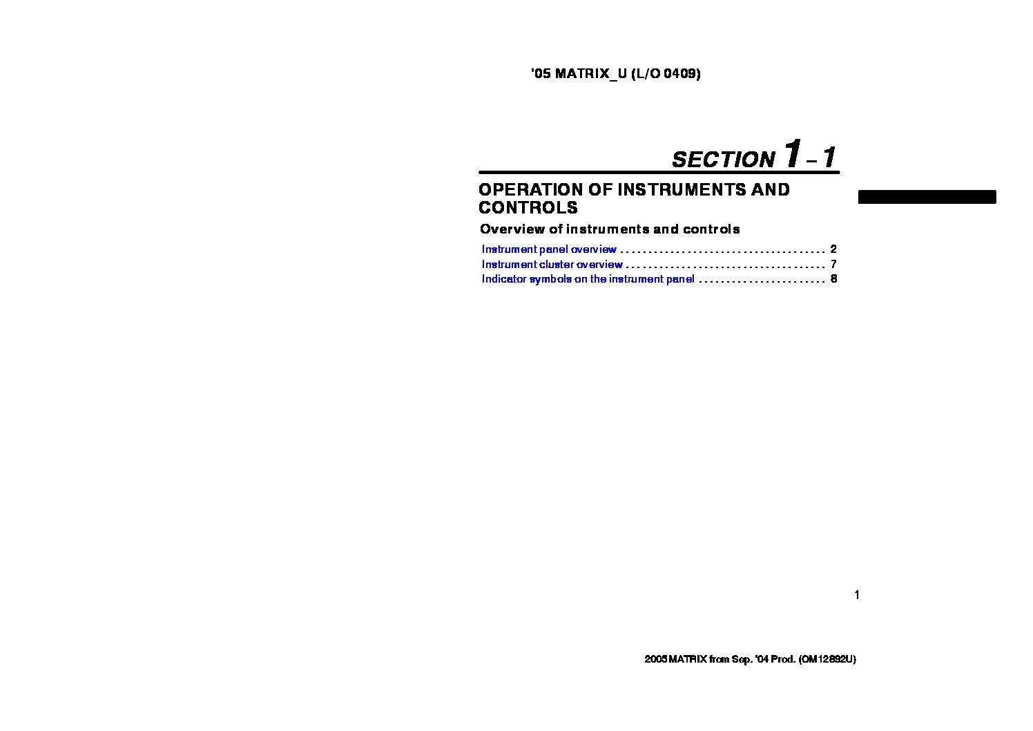 2005 Toyota Matrix Owner's Manual Image