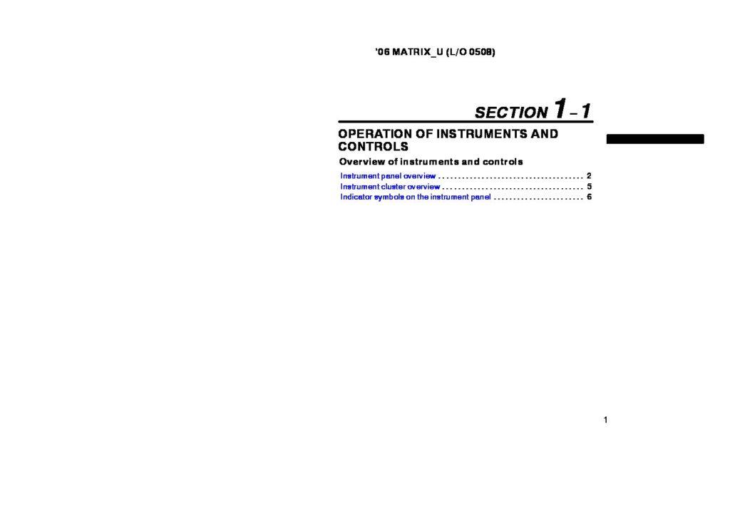 2006 Toyota Matrix Owner's Manual Image
