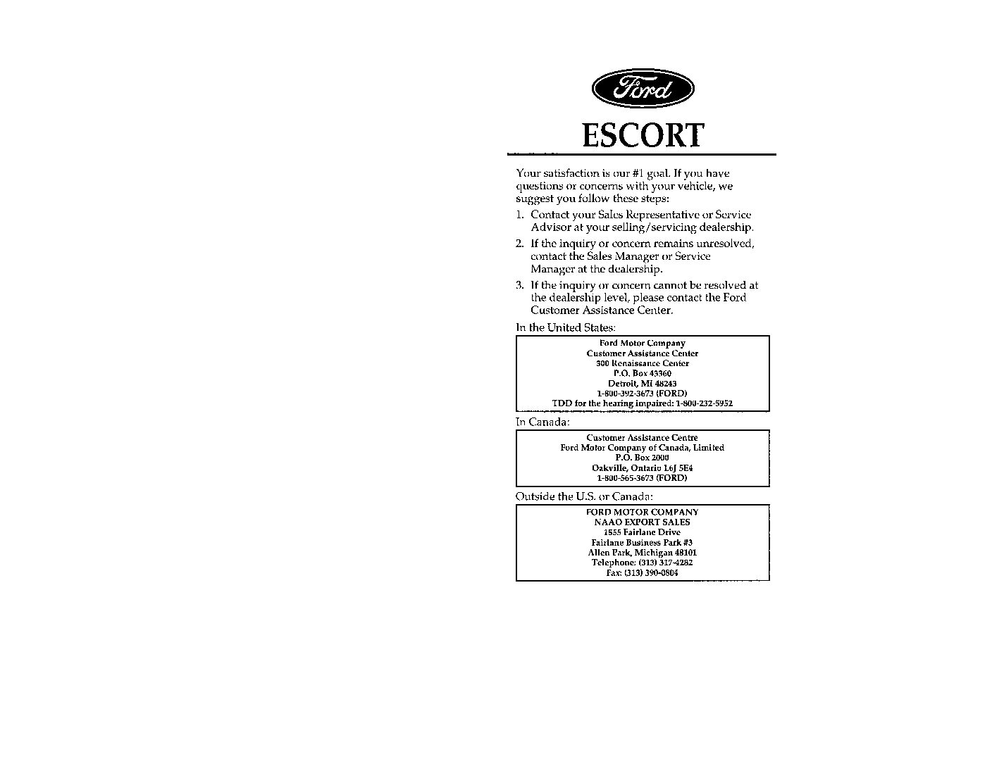 1996 Ford Escort Owner's Manual Image