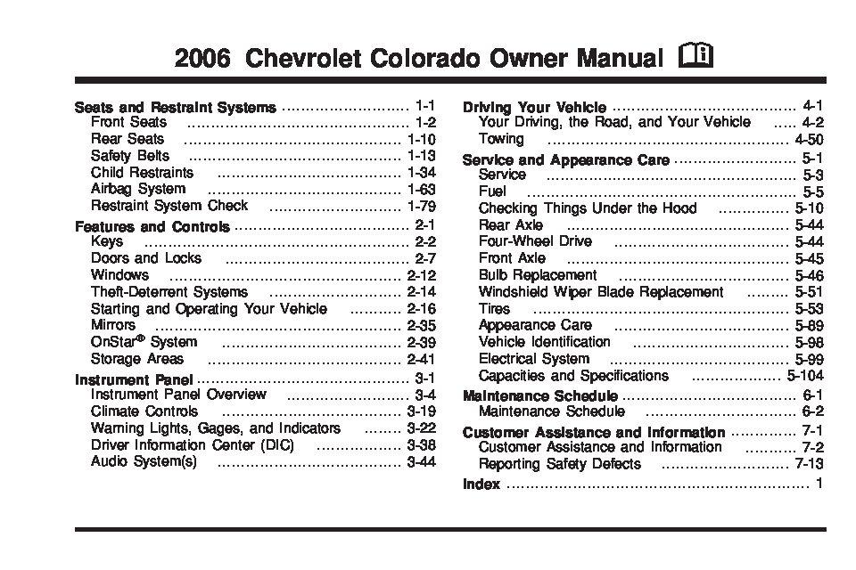 2006 Chevrolet Colorado Owner's Manual Image