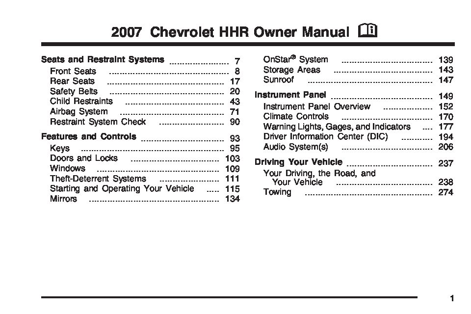 2007 Chevrolet HHR Owner's Manual Image