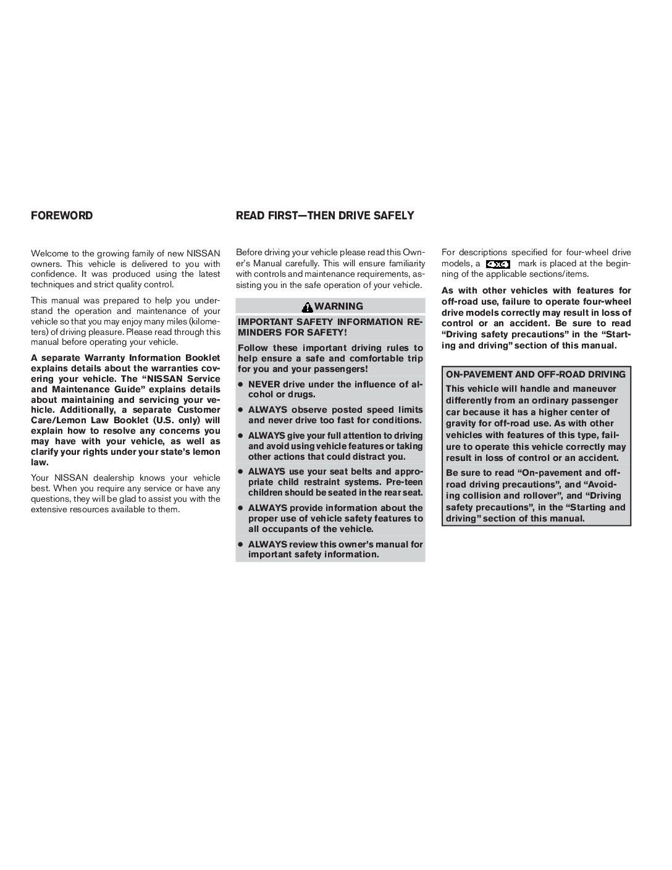 2007 Nissan Titan Owner's Manual Image