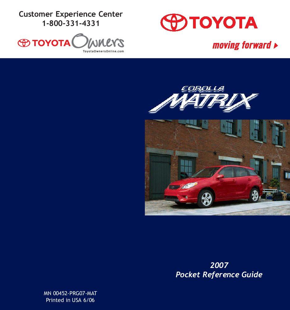 2007 Toyota Matrix Owner's Manual Image