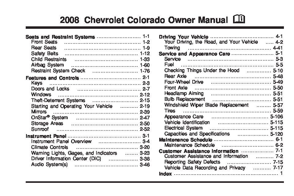 2008 Chevrolet Colorado Owner's Manual Image
