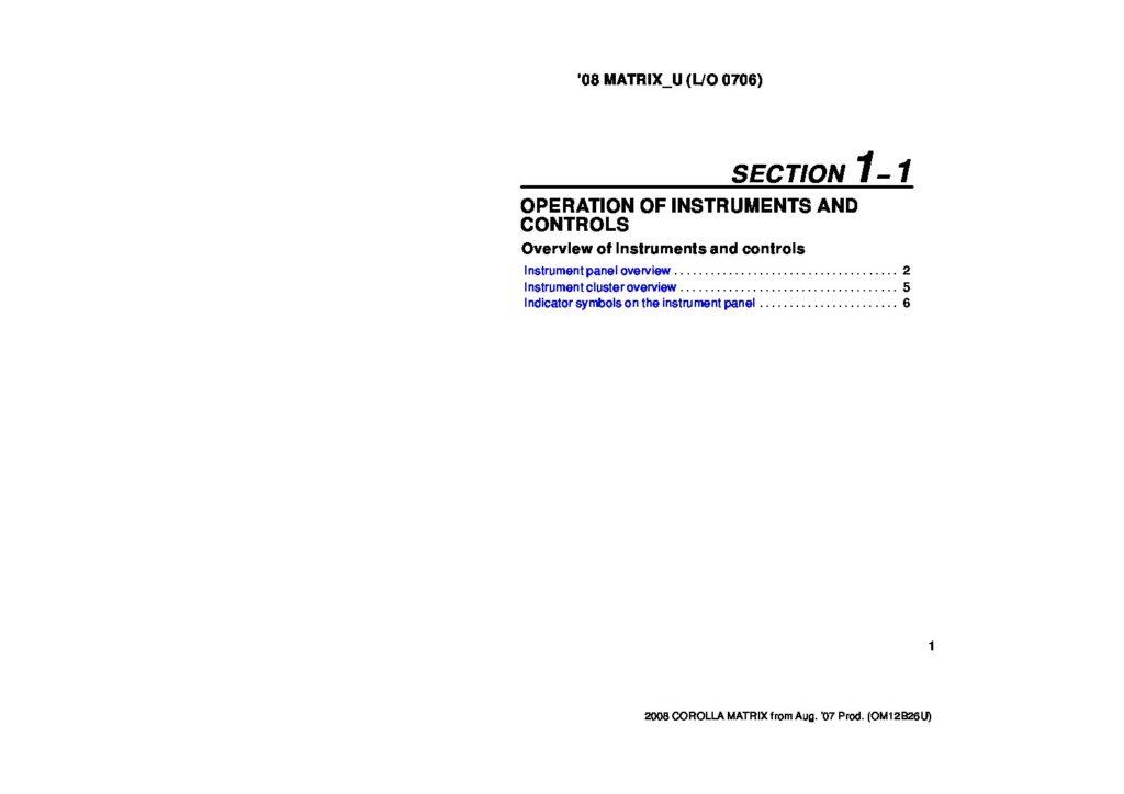 2008 Toyota Matrix Owner's Manual Image
