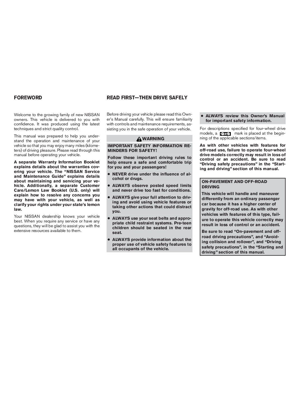 2009 Nissan Titan Owner's Manual Image