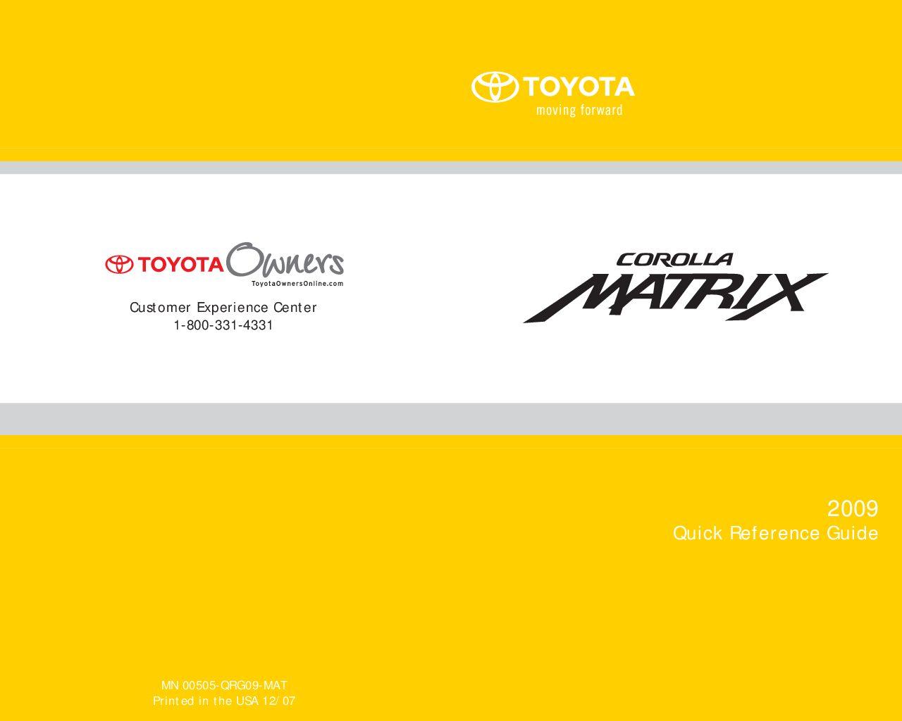 2009 Toyota Matrix Owner's Manual Image