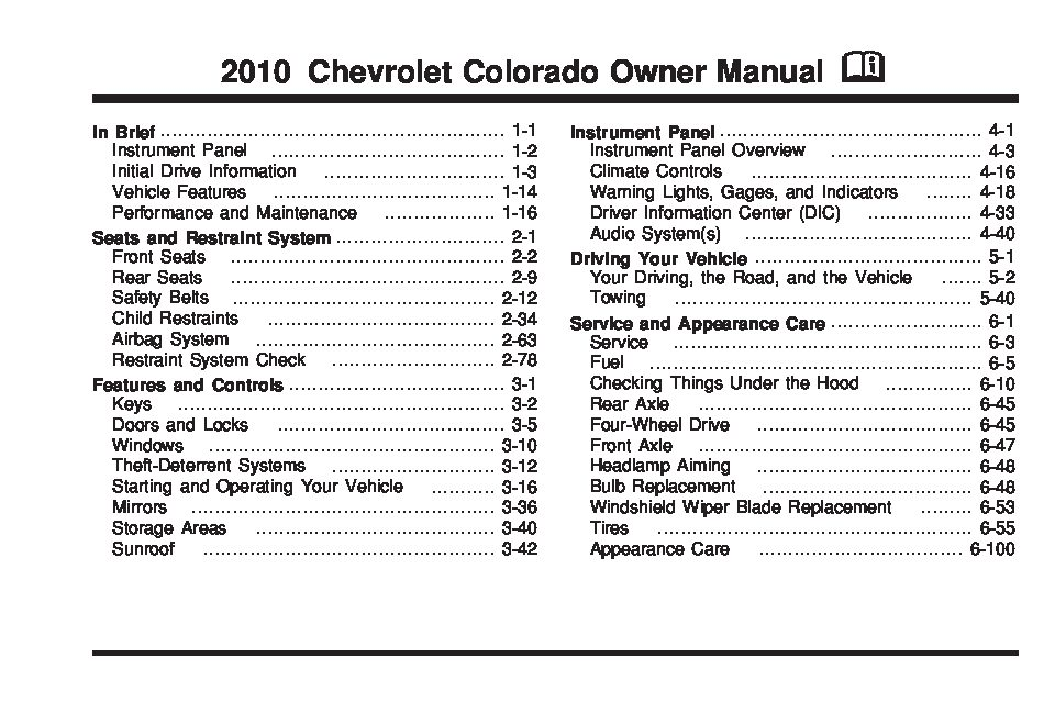 2010 Chevrolet Colorado Owner's Manual Image