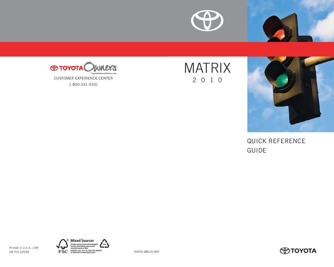 2010 Toyota Matrix Owner's Manual Image