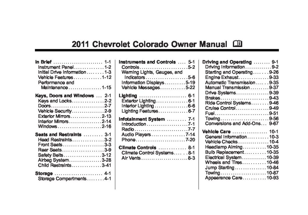 2011 Chevrolet Colorado Owner's Manual Image
