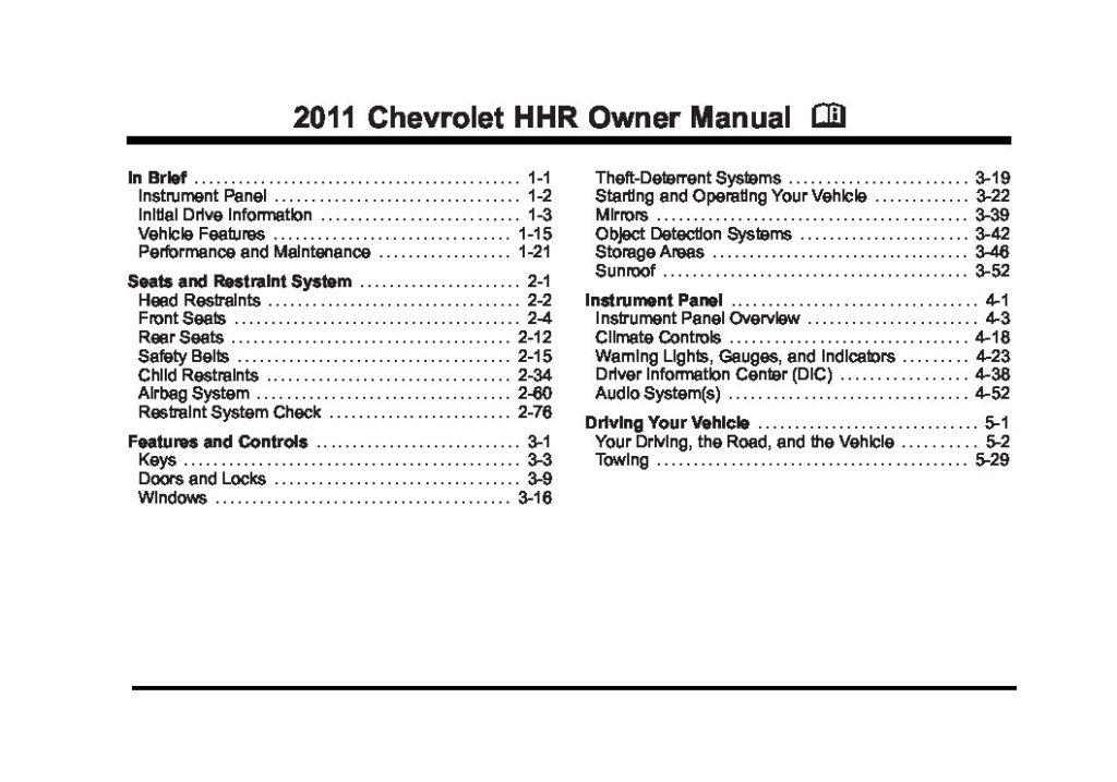 2011 Chevrolet HHR Owner's Manual Image