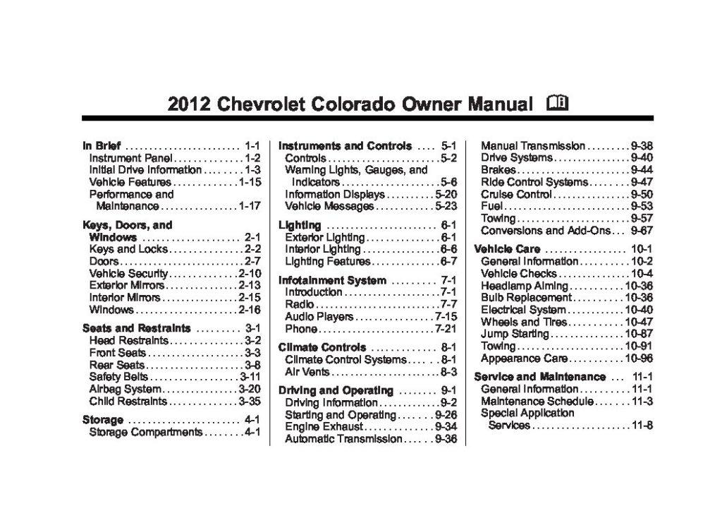 2012 Chevrolet Colorado Owner's Manual Image