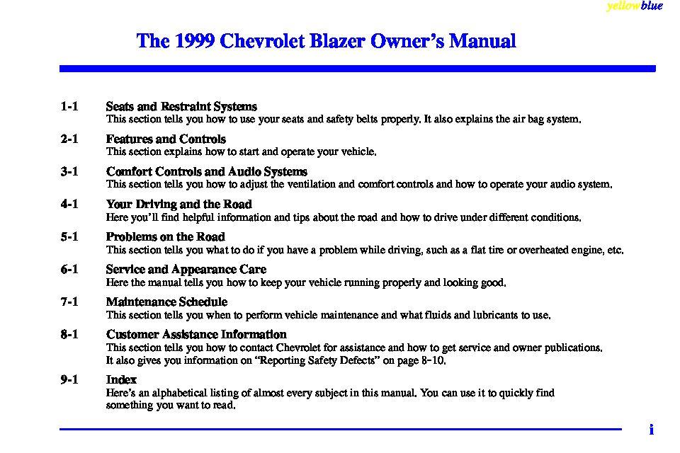 1999 Chevrolet Blazer Owner's Manual Image