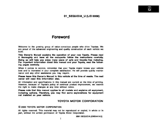 2001 Toyota Sequoia Owner's Manual Image