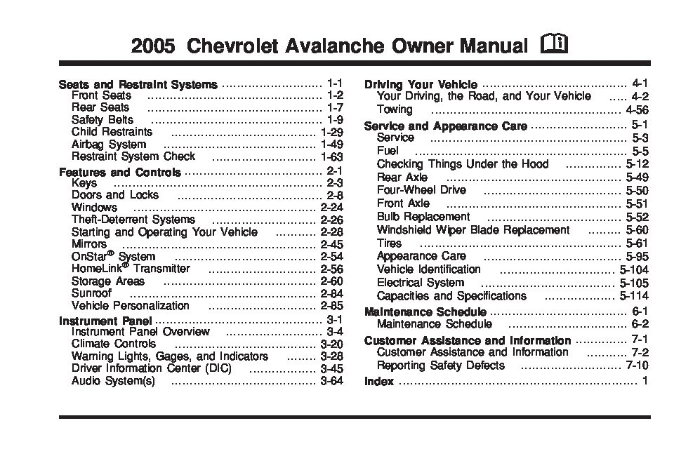 2005 Chevrolet Avalanche Owner's Manual Image