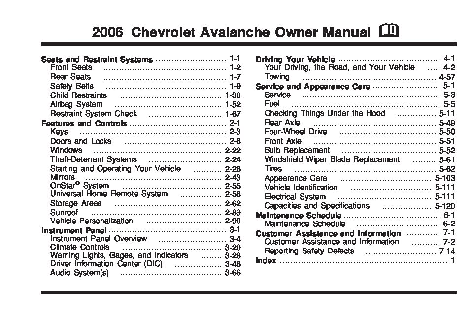 2006 Chevrolet Avalanche Owner's Manual Image