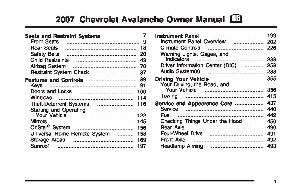 2007 Chevrolet Avalanche Owner's Manual Image