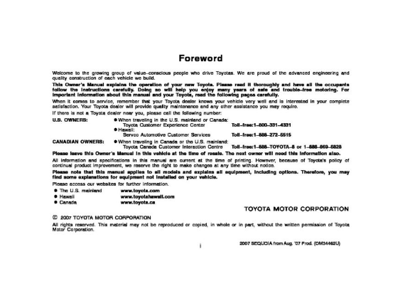 2007 Toyota Sequoia Owner's Manual Image