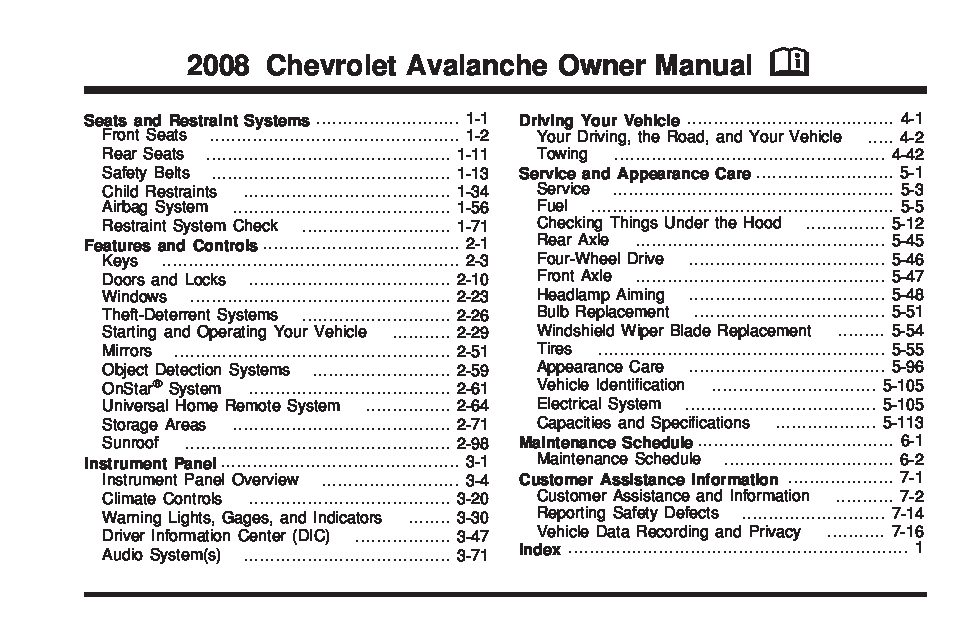 2008 Chevrolet Avalanche Owner's Manual Image