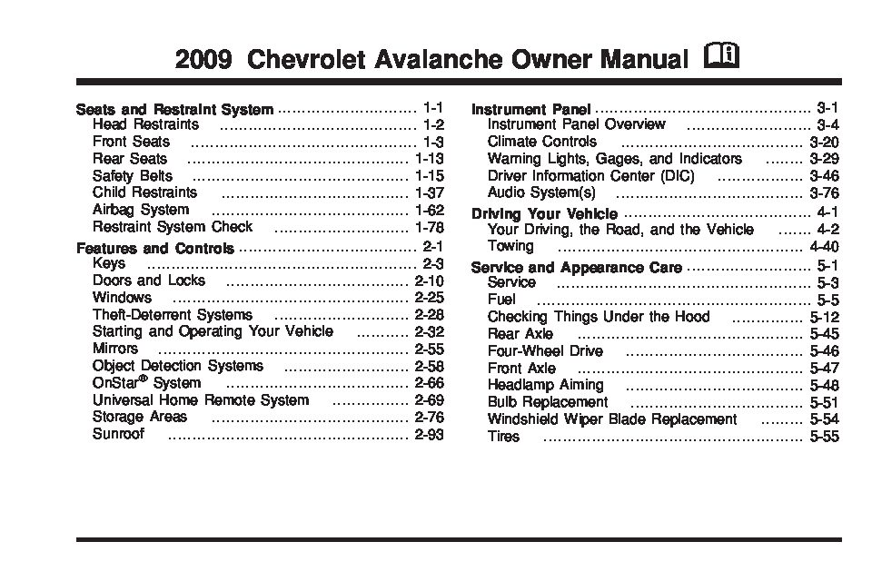 2009 Chevrolet Avalanche Owner's Manual Image