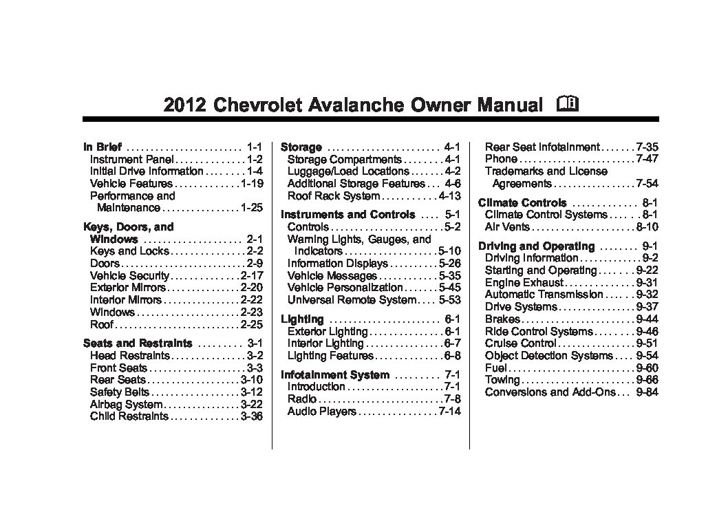 2010 Chevrolet Avalanche Owner's Manual Image