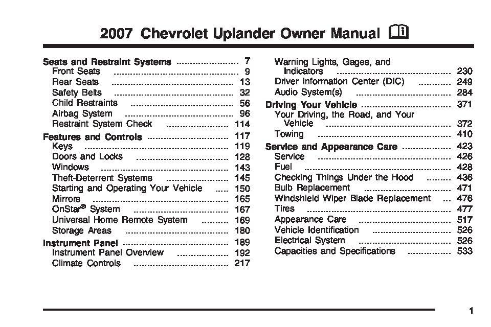 2007 Chevrolet Uplander Owner's Manual Image