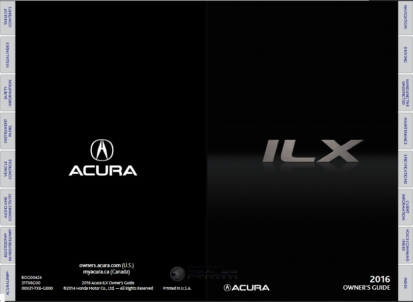 Download 2016 Acura ILX Owner's Manual Image